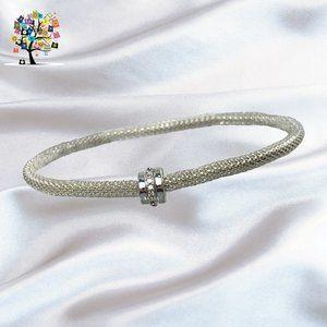 🛍️ Mesh Chain Stretch Silver w/Clear Crystals